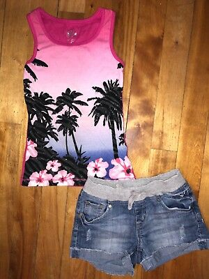 Justice Girls 10 Palm Tree Glitter Flower Tank Top Shirt Pull On Jean Shorts Set