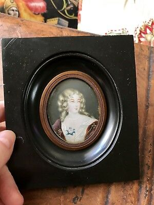 Early 19th Century Antique Framed Miniature Painting of a Young Woman