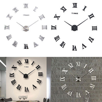 Luxury 3D DIY Wall Clock Roman Numeral Mirror Sticker Home Living Room Art Décor