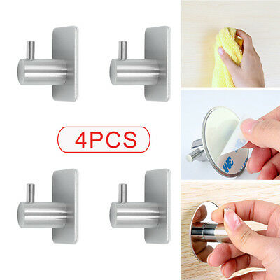 Self Adhesive Hooks Stainless Steel Strong Sticky Stick on Wall Door 4PCs  UK