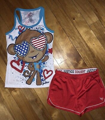 JUSTICE GIRLS 10 MONKEY RED WHITE BLUE TANK TOP SHIRT PATRIOTIC SHORTS 4th JULY