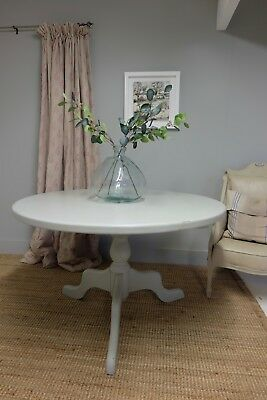 Solid Mahogany Antique Painted Pedestal Dining/occasional Table (Shabby Chic)