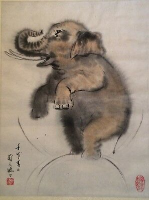 Antique Chinese Elephant watercolor painting signed chop-mark  silk trim