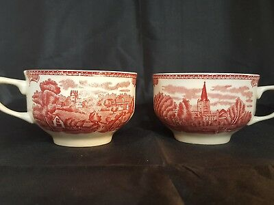 "JOHNSON BROTHERS   Pink ""old castles of Britain. 1792  pair of replacement cups"