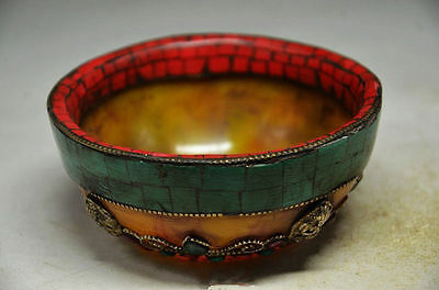 Tibet Buddhism Religion Red Coral Turquoise Beeswax Buddha Bead Offering Bowl