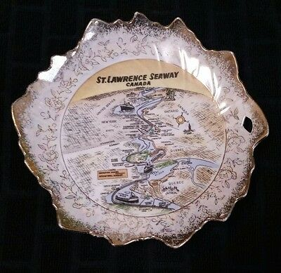 "St. Lawrence Seaway - 7 1/2"" Leaf Shaped Bone China Dish With Gold Trim"
