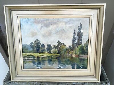Stunning Oil Painting on Board of Boat and River Scene signed FE Wheaton