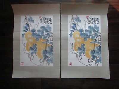 Matching Antique Chinese Watercolor Scroll Paintings Of Flowers