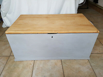Vintage Antique Old Pine Chest / Wooden trunk / Blanket box or tool chest