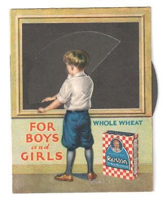 Antique Mechanical Trade Card Ralston Whole Wheat Cereal Boy Chalkboard