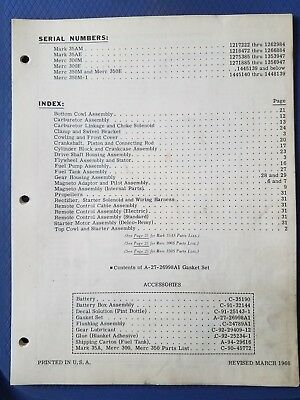 Vintage Mercury Marine - Mark 35AM 35AE 300M 300E Parts Manual - 1966 - Original