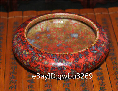 Rare Old Chinese Hand-painted Tiger Red Color Porcelain Brush Washers