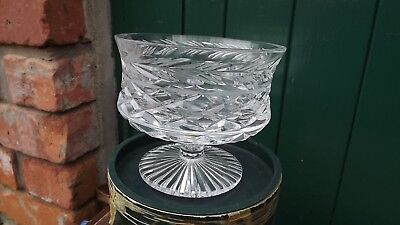 Tyrone Crystal large footed  comport Bowl with original Box Super cut crystal