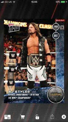 Topps WWE SLAM Topps Now 2017 Night of Champions AJ Styles Defeats Jinder Mahal