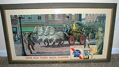 Pabst Beer print: Firefighters on horse drawn fire engine speeding thru town