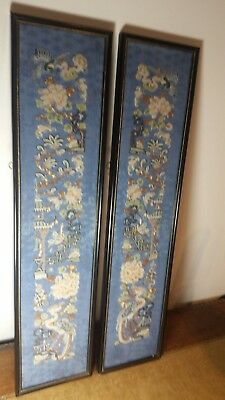 2 19th  century chinese sleeves framed
