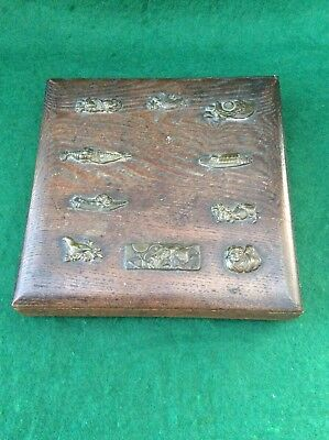Antique Japanese wooden box with bronze appliques A/F