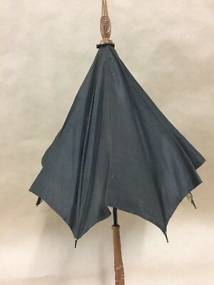 Antique Black Silk Parasol Carved Wood Handle