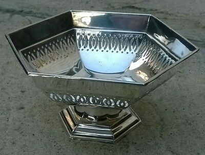 SOLID SILVER ART DECO OCTAGONAL BONBON DISH/ BOWL SHEFFIELD 1922 Walker and Hall