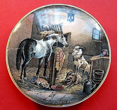 "EXCELLENT PRATTWARE POT LID ""COUNTRY QUARTERS"" CIRCA 1860,s USED"
