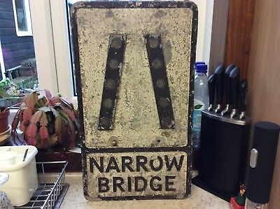 Genuine Vintage ORIGINAL cast iron, Reflective Studs, Road Narrows Sign.