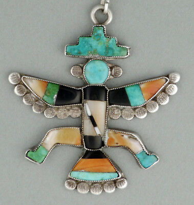 Exceptional Early Fine Zuni attr Leo Poblano Knifewing Pendant Mosaic Inlay