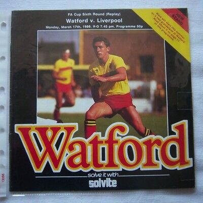 WATFORD FC - LIVERPOOL FC   1985/86  FA Cup  6.Round Replay / Orig.Programme  !!