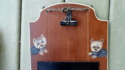 Hand Painted Yorkie Yorkshire Terrier Leash Holder, clipboard and chalkboard