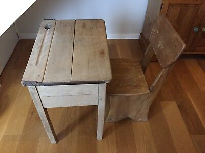 Vintage wooden School Desk And Chair with lift up lid and ink well