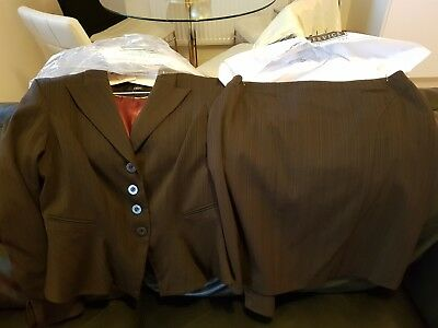 Next ladies skirt and jacket suit brown size UK 14
