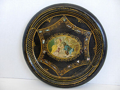 Antique Victorian Paper Papier Mache Tray Decoupage  w/ Inlaid Mother of Pearl