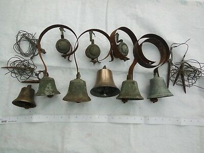 Antique Victorian brass servant's bell on springs