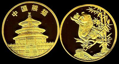 Rare ●●● Plaquee Or ● Medaille Avec Pandas (Type 3) ●● Fdc Unc