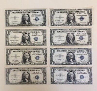 Lot of 8 1935 One Dollar $1 Silver Certificates
