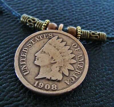 1908 Indian Head  Penny Coin - INDIAN CHIEF HEAD Pendant Necklace Jewelry