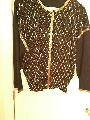 Vintage 1950s BEADED Sequin SWEATER CARDIGAN Maison Mendessolle Lambswool Angora