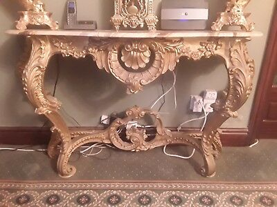 Stunning Beautiful Louis Style Console Table Marble Top Low Start Price