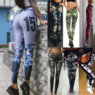 Women Camo Workout Leggings Fitness Sports Gym Running Athletic Pants Trousers