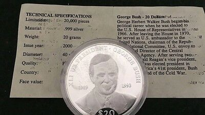 Liberia 2000 .999 Silver Proof $20 George Bush