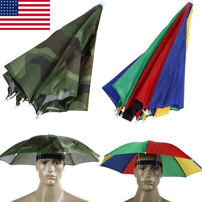 New Outdoor Foldable Sun Umbrella Hat Golf Fishing Camping Headwear Cap Head Hat