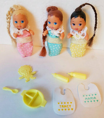 BABY KRISSY Dolls 3 Babies blonde brunette redhead w/rooted hair, clothes & more