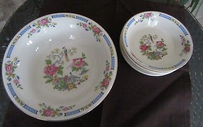 Lord Nelson Ware - T'Sing - 1950's 7 piece bowl set - Bird of paradise & peonies