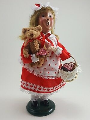 BYERS CHOICE Carolers Valentine's Day Girl 2005 - Holding Bear & Cookie Basket