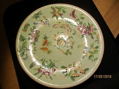 Antique Chinese Plate Canton Celadon Green Famille Verte Butterflys & bugs C1850