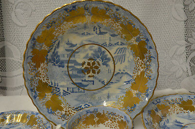 Spode Broseley Chinoiserie c1820 Porcelain Teacups, Plate, Bowls Lot of 6 Pieces