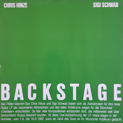 Chris Hinze - Sigi Schwab ‎– BACKSTAGE 1982 Melosmusik ‎– GS 801 Jazz Vinyl LP
