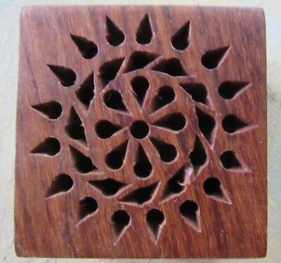 Wooden Hand Carved Trincket Box (5x5x3cm) - Made in India