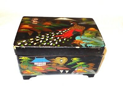 Vintage Japanese Lacquered Decorated Jewellery Box  W/ Musical