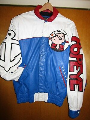 """Popeye used leather jacket, size sm., red, white and blue. """"Maziar Leather Galle"""