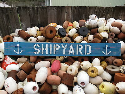 48 Inch Wood Hand Painted Shipyard & Anchor Sign Nautical Seafood (#s508)